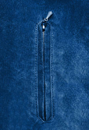 Blue background with leather jacket, with zipper Stock Photo - 6505875