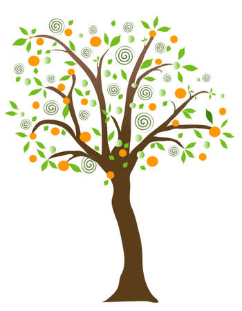 Fruit tree, object white isolated Illustration