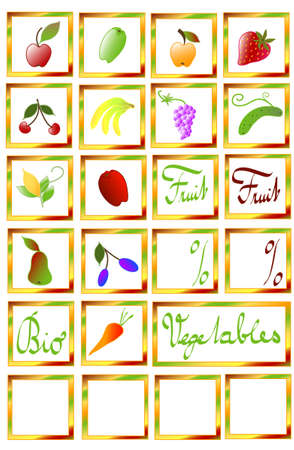 stickers on fruit set and vegetables, white isolated objects /frame gradient/, vector Stock Vector - 6554458