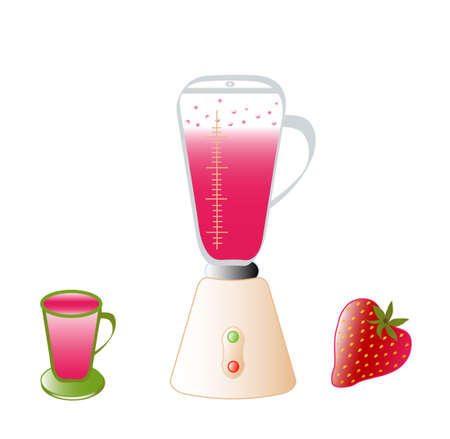 Blender, cocktail, strawberry, objects white isolated, vector Vector