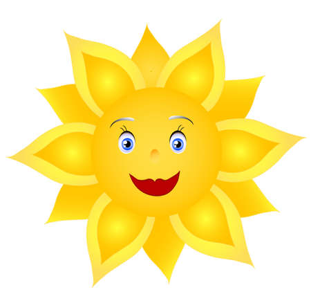 smile yellow sunflower, object white isolated, hand drawing, vector