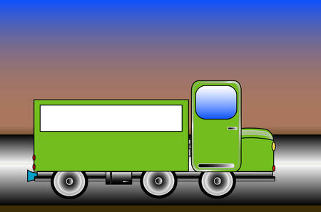 truckload: Green truck on the road, place for text, vector