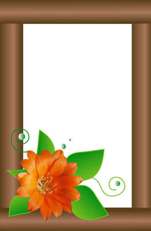 Illustration photo frame decorated with collage live flowers, white place for text Stock Illustration - 6576915