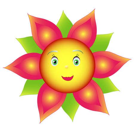 amabilidad: Flor color de sonrisa o girasol, objeto aislado blanco, la mano de dibujo