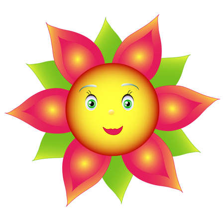 Smile colored flower or sunflower, object isolated white, hand drawing