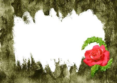 Pergamino verde, fondo retro con flores rosas rojas,, marco para el texto  Foto de archivo - 6657836