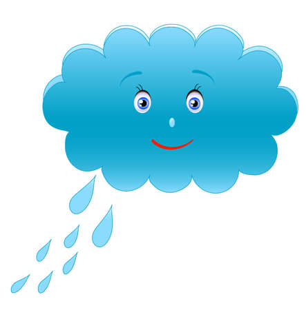 smile blue cloud adn drops, hand drawing,object white isolated,