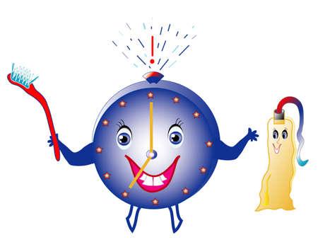 alertas: Establecer alertas para higiene dental, los ni�os colores de imagen, objetos blanco aislado,  Vectores