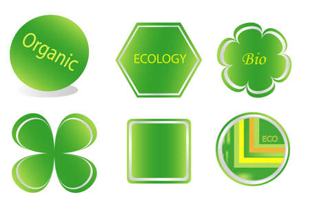 Collection of green stickers  for organic food, objects white isolated Stock Vector - 7247101