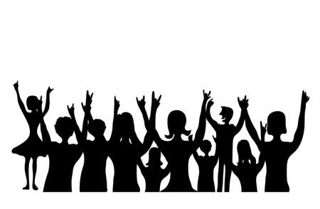 crowd happy people: Illustration background silhouette Cheering People,