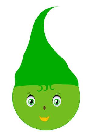 pygmy: header natural green smiley sprite, hand drawing Illustration