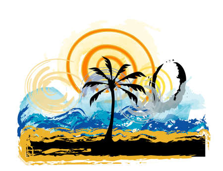 Beach by the sea with a palm tree, place for your text Stock Vector - 7247100