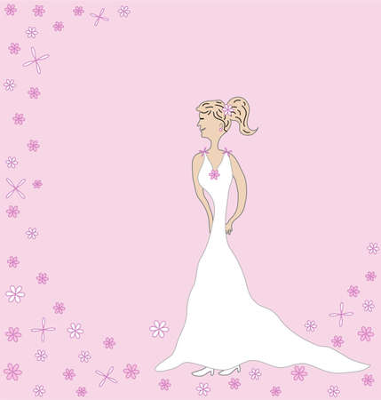 One woman , pink background with place for text Vector