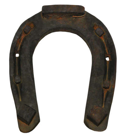 Old damaged horseshoe for good luck, object isolated, photo