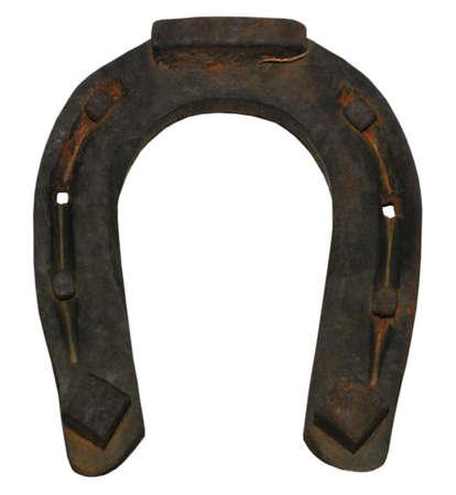 fer   � cheval: Old endommag� horseshoe pour good luck, objet isol�, Banque d'images