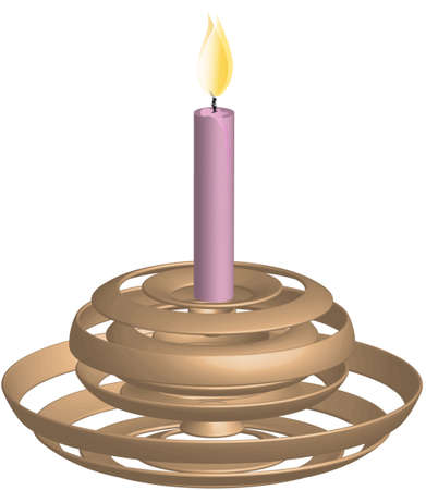 Golden candlestick with burning candle in pink Vector