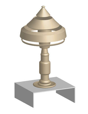 3D, Golden shiny lamp table, object white isolated Vector