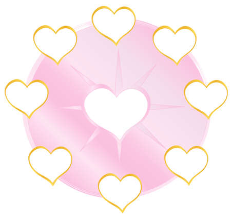 Pink circle love with golden heart, place for text Stock Illustratie