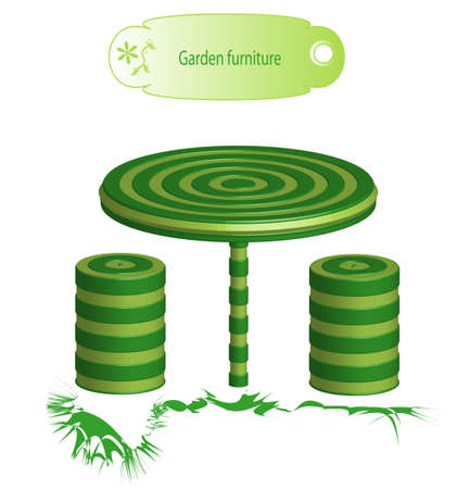 patio chair: Green garden furniture, object isolated Stock Photo
