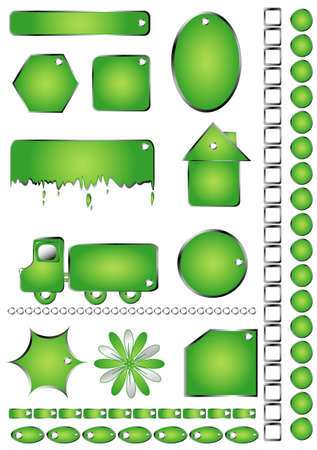 Set green shapes, objects Isolated white, text frames Stock Vector - 7565856