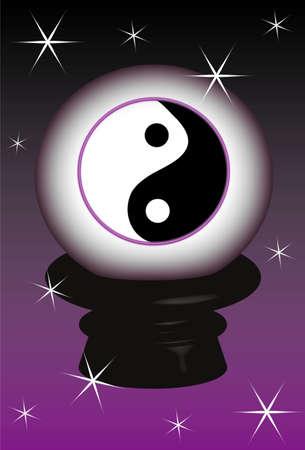 3D, object Yin yang symbol, background Vector