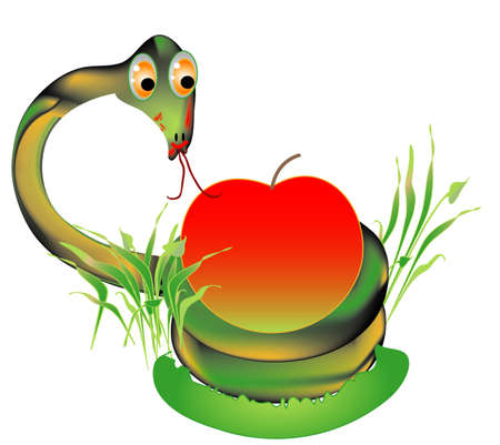 terrarium: Symbols, Viper with a red apple Illustration