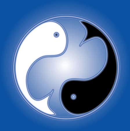 Zodiac signs, Pisces. Blue background