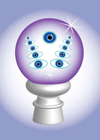 3D, The third eye in glass ball, metaphor Stock Photo - 7695554