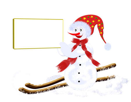 Christmas snowman skier, and children's picture with room for your text Stock Photo - 8152943