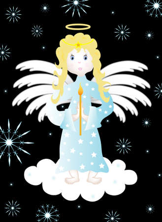 Christmas background with an angel on a cloud Vector