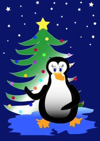 iciness: Bird Penguin with Christmas tree,place for text