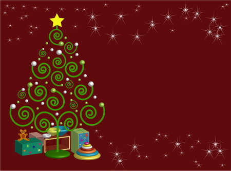 free place: Christmas tree with gifts, place for text, vector