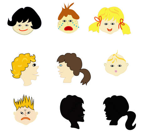 Collection of faces of different expressions, kids Stock Vector - 8243285