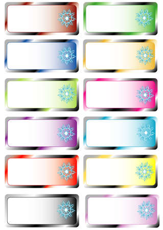 Colors Christmas stickers, white isolated Vector