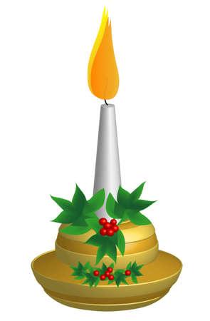 a sprig: Oro de Navidad de Candlestick, con ramita de acebo europeo, 3d