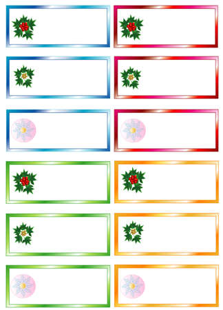 Set colors Christmas Stickers, white isolated