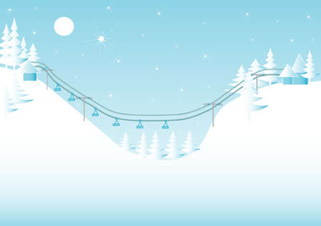 mountain holidays: Winter mountain landscape with a ski lift,sample for text Illustration