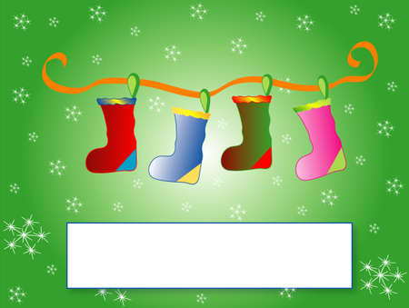 Background of Christmas socks for the family, frame for text, vector Vector