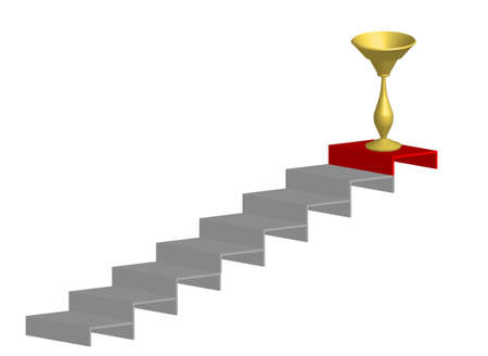 stairs with the winning cup, graph, vector Vector