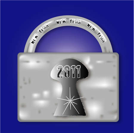 Metal lock for the New Year 2011, vector Vector