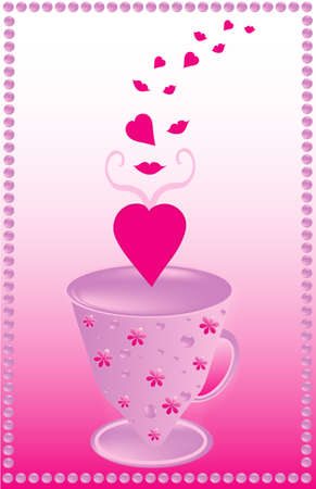 The pink background with a cup full of love Stock Vector - 8519638