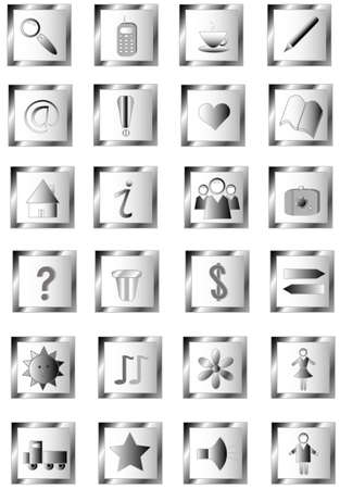 Shiny gray set buttons, objects hand-drawing Stock Vector - 8564972