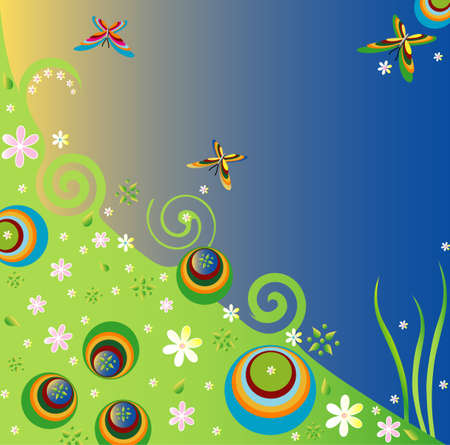 Spring background with flowers and butterflies, vector Vector