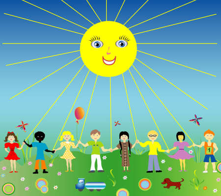 Image group of small children in summer meadow  Vector