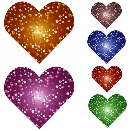 Set the color variations of patterned hearts Stock Photo - 8611422