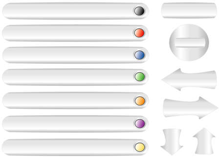 Set the color variations buttons, object white isolated Vector