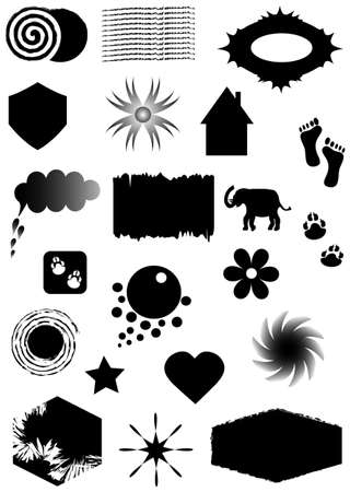 Set silhouettes black shapes and symbols, vector Vector