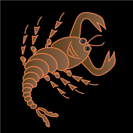 poison sign: A scorpion on a black background, vector
