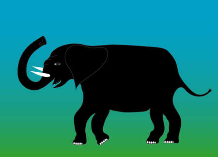 black silhouette of an elephant for good luck, vector Stock Vector - 8718780