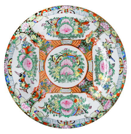 porcelain flower: One chine colorful plate, object white isolated Stock Photo